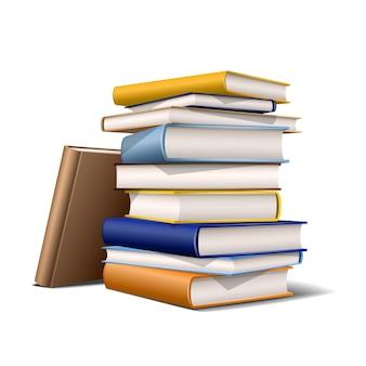 Stapel blauwe en gele boeken. boeken verschillende kleuren geïsoleerd op een witte achtergrond. vector illustratie