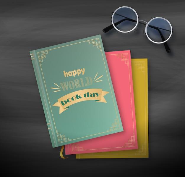 Stapel boeken, gelukkige werelddag op zwarte achtergrond