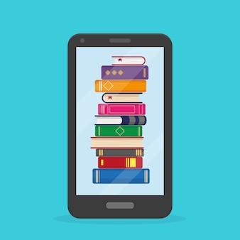 Stapel boeken in de mobiele telefoon op blauwe achtergrond.