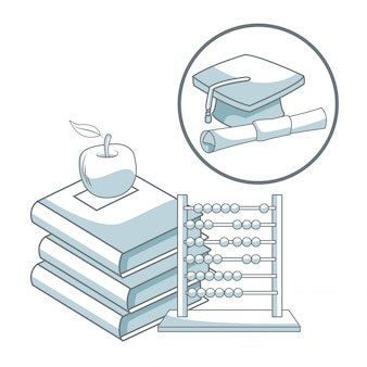 Stapel boeken met aapple en telraam met cirkelvormige frame afstuderen glb en certificaat