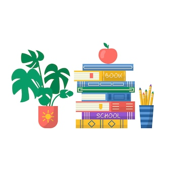 Stapel boeken met bloem en appel. boekenclubinschrijving voor promo, prenten, flyer, omslag en posters. vectorillustratie van stapel boeken. pictogram ontwerp