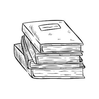Stapel boeken met hand getrokken of schetsmatige stijl op wit