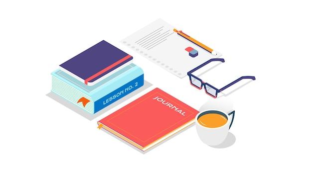 Stapel boeken met kopje koffie en glazen in isometrische stijl