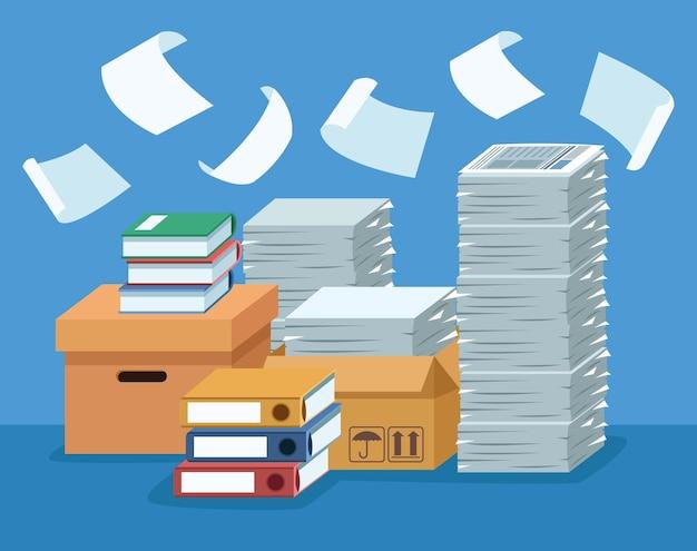 Stapel documenten in dozen