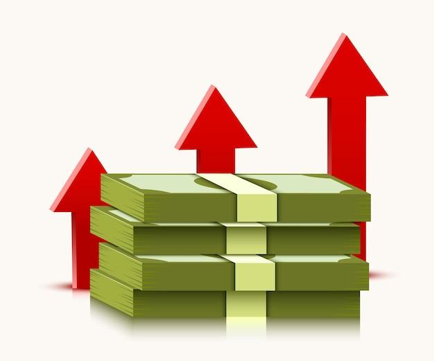 Stapel dollars met stijgende pijl op wit wordt geïsoleerd. geld en economie concept.