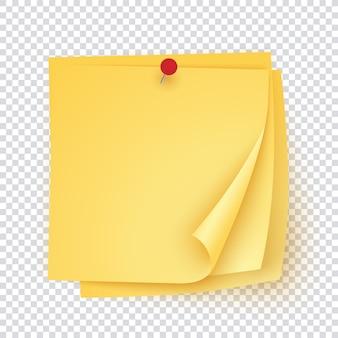 Stapel geel papier met rode pin, lege sticker sjabloon met hoeken opgerold.
