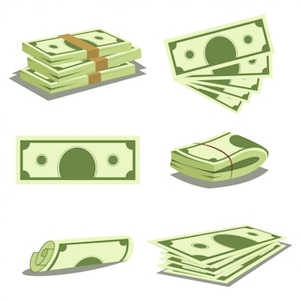 Stapel geld en stapel geld. dollar bankbiljet pictogrammen. vector cartoon illustratie van papier valuta geïsoleerd