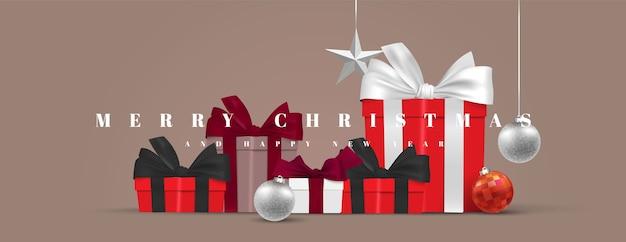 Stapel geschenkdozen kerst huidige banner. vrolijke kerstmis en gelukkig nieuwjaar realistische illustratie als achtergrond
