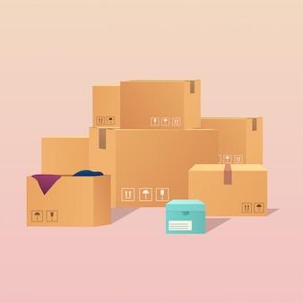 Stapel gestapelde kartonnen dozen verzegelde goederen. modern illustratieconcept.