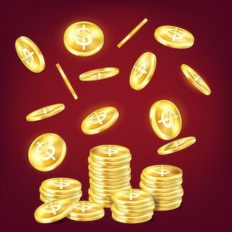 Stapel gouden glanzende munten