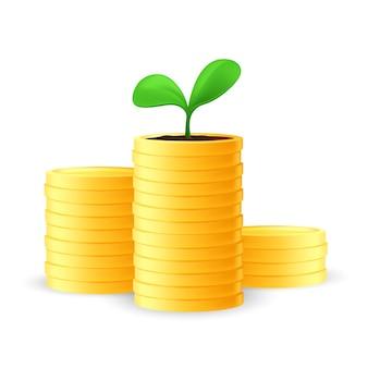 Stapel gouden munten met een zaailing of groeiende jonge groene plant erop. bedrijfsinvesteringen en geld besparen concept. vectorillustratie van financiële groei geïsoleerd op een witte achtergrond