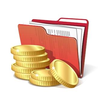 Stapel gouden munten naast map met documenten