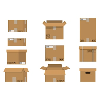 Stapel kartonnen dozen set.