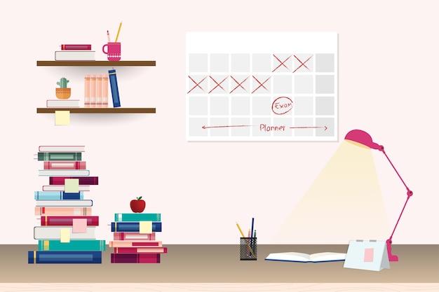 Stapel kleurrijke boeken en briefpapier op tafel en planken