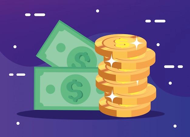 Stapel munten geld met rekeningen contant geld
