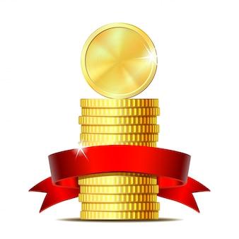 Stapel munten met rood lint.