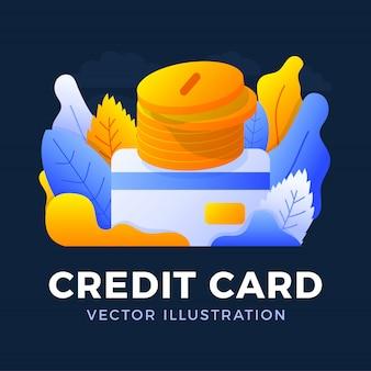 Stapel muntstukken met een geïsoleerde creditcard vectorillustratie. het concept om geld aan een bankrekening toe te voegen. de achterkant van de kaart met een stapel munten.