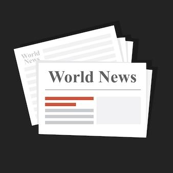 Stapel nieuwskranten. wereldnieuws. dagelijkse of wekelijkse gedrukte editie. distributie van financieel en internationaal nieuws. vlakke afbeelding