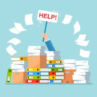 Stapel papier, stapel documenten met karton, kartonnen doos, map.