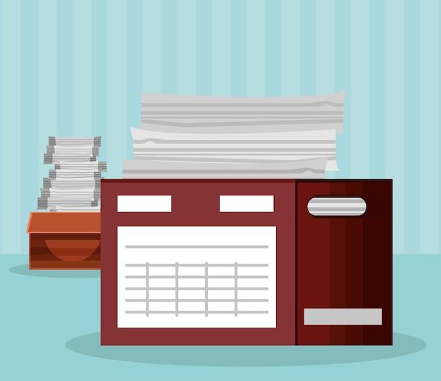 Stapel papierwerk in dozen