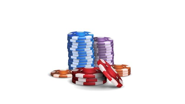 Stapel realistische oranje, blauwe, groene, paarse, rode en zwarte lege fiches voor casino. kleurrijke casino chips geïsoleerd op een witte achtergrond