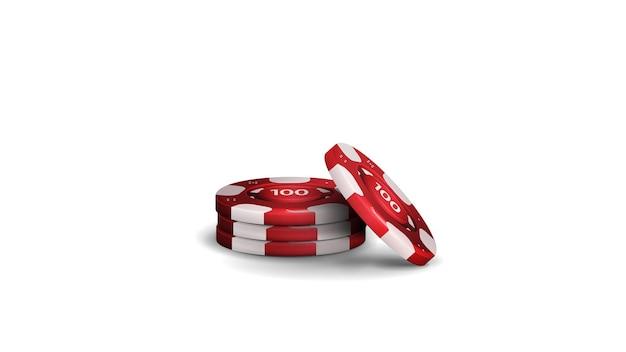 Stapel realistische rode fiches voor casino geïsoleerd op een witte achtergrond