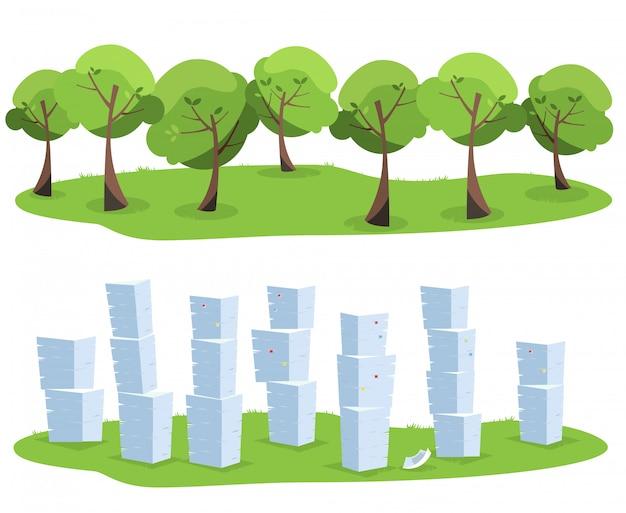 Stapel van bureaudocumenten als boomafval dat op witte achtergrond wordt geïsoleerd. bomen versus papieren stapels. vlakke afbeelding.