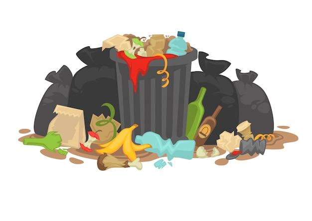 Stapel van rottend vuilnis links rond liggen.