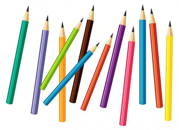 Stapel van vele kleurrijke potloden op witte achtergrond