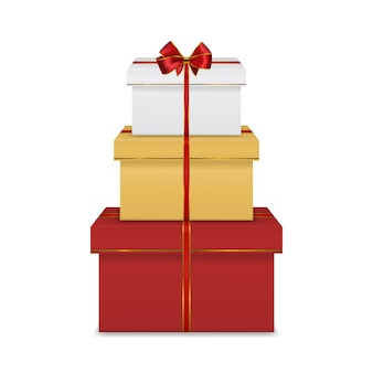 Stapel witte geschenkdozen met lint en boog
