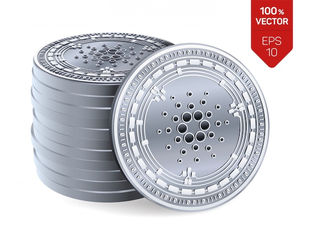 Stapel zilveren muntstukken met cardano-symbool dat op witte achtergrond wordt geïsoleerd.