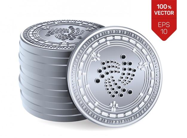 Stapel zilveren muntstukken met iota-symbool dat op witte achtergrond wordt geïsoleerd.