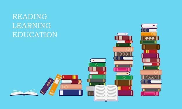 Stapels boeken op blauwe achtergrond. lezen, onderwijs of verkoopconcept. illustratie.