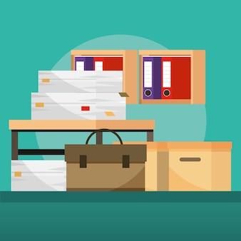 Stapels dossiers en papierwerk