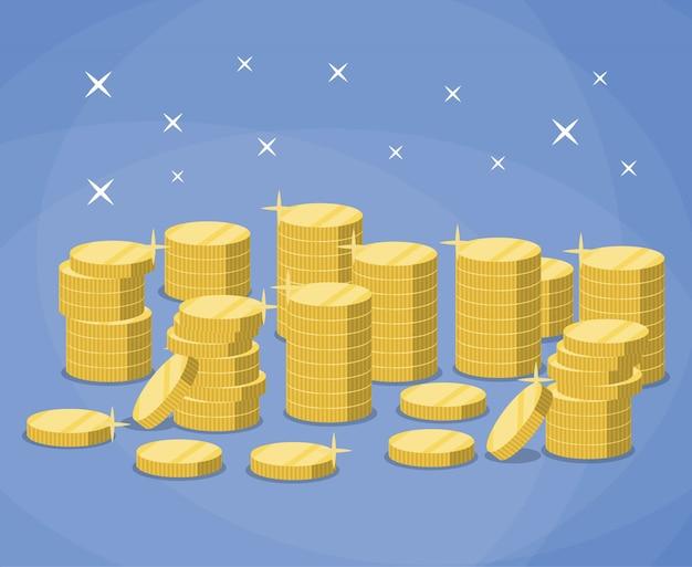 Stapels gouden munten