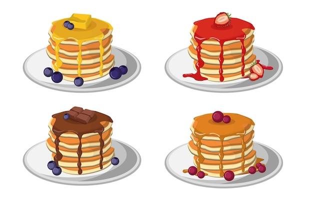 Stapels pannekoeken set. gebak met karamel of chocolade, siropen met aardbei of bosbes