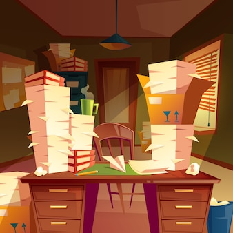 Stapels papier in leeg kantoor, papierwerk, mappen, documenten in dozen