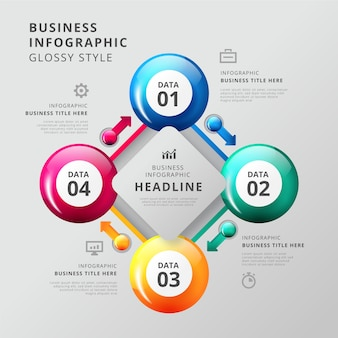 Stappen glanzende infographic sjabloon