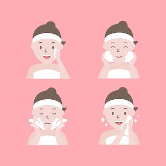 Stappen hoe het gezicht te reinigen. vrouw met stap van schoon en zorg haar gezicht.