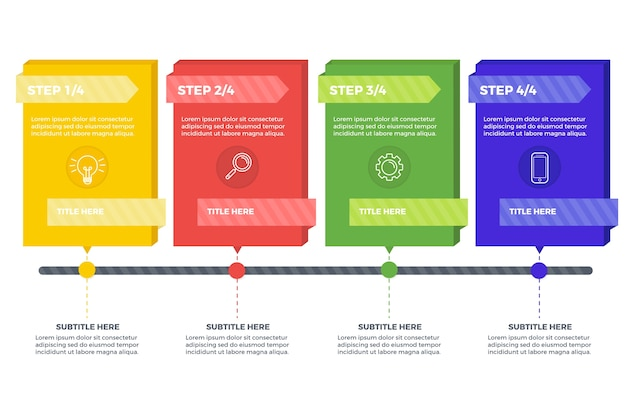 Stappen infographic collectie