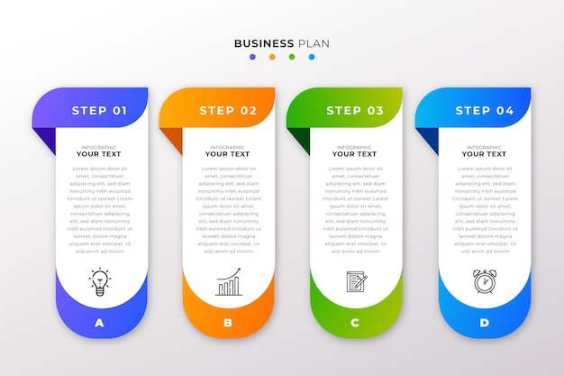 Stappen infographic collectieontwerp