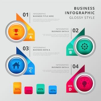 Stappen infographic glanzende sjabloon