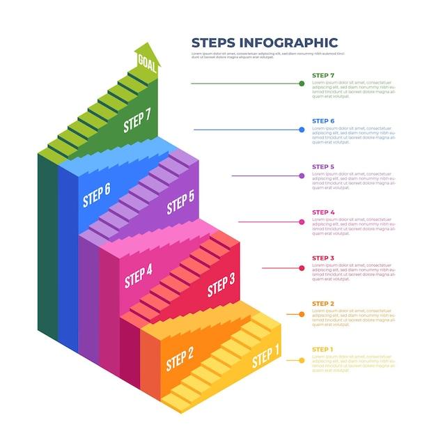 Stappen infographic kleurrijk ontwerp