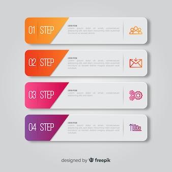 Stappen infographic met dia vormen