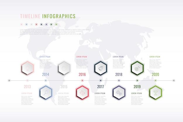 Stappen infographic sjabloon met realistische zeshoekige elementen