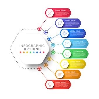 Stappen infographic sjabloon met zeshoekige elementen
