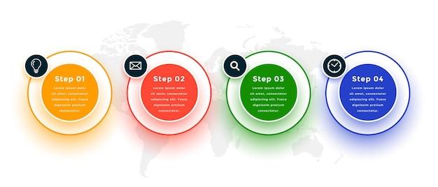 Stappen infographic sjabloonontwerp in cirkelstijl