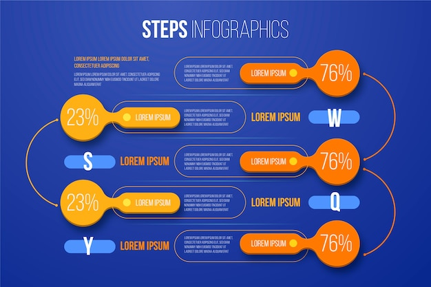 Stappen infographic sjabloonthema