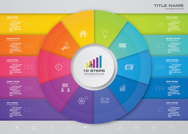 Stappen infographics element sjabloongrafiek voor presentatie.