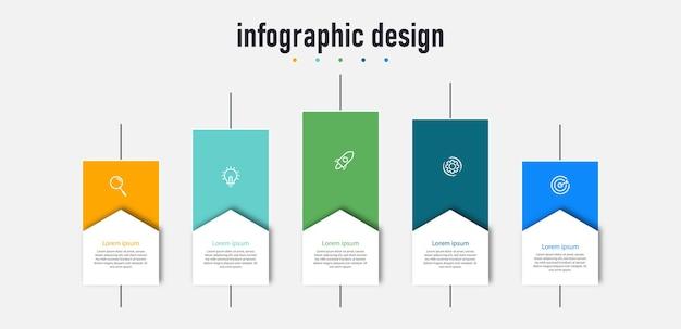 Stappen modern zakelijk infographic sjabloonontwerp